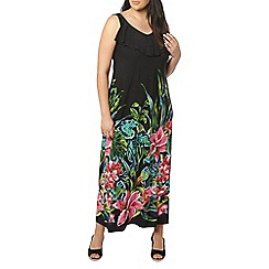 Evans - Black tropical print dress
