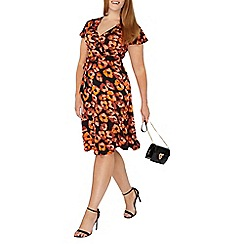 Evans - Black poppy print hourglass fit wrap dress