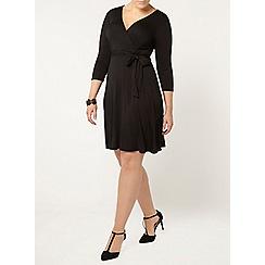 Evans - Black hourglass fit wrap dress