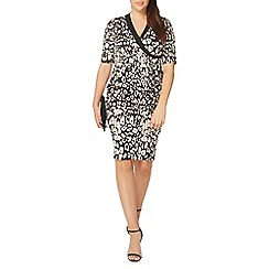 Evans - Ivory hourglass printed wrap dress