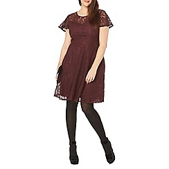 Evans - Burgundy red hourglass lace dress