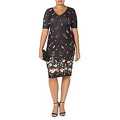 Evans - Black hourglass fit border print dress