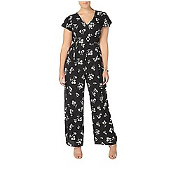 Evans - Black hourglass fit floral print jumpsuit
