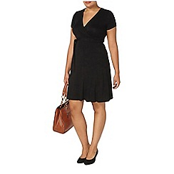 Evans - Black hourglass fit wrap dress