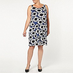 Evans - Blue daisy print knot dress