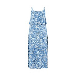 Evans - Blue floral overlay maxi dress