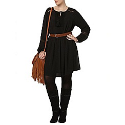 Evans - Black crochet detail tunic dress