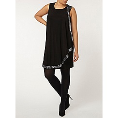 Evans - Black sequin trim dress