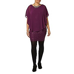Evans - Purple sequin lace dress