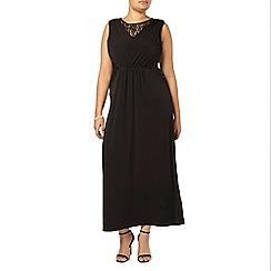 Evans - Black lace panel maxi dress
