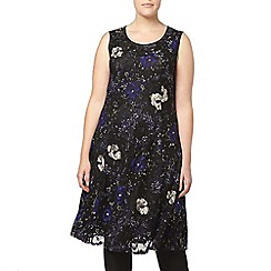 Evans - Printed jersey lace dress