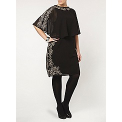 Evans - Black embellished cape dress