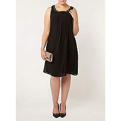 Evans - Black embellished neck dress