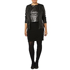 Evans - Black foil overlay dress