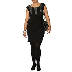 Evans - Black lace insert peplum dress