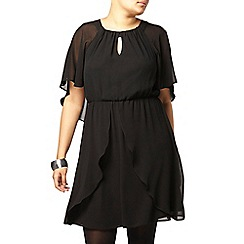 Evans - Black cape chiffon dress