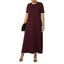 Evans - Berry tie neck maxi dress