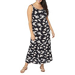 Evans - Navy floral ring maxi dress
