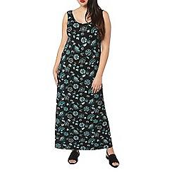 Evans - Black floral print jersey maxi dress