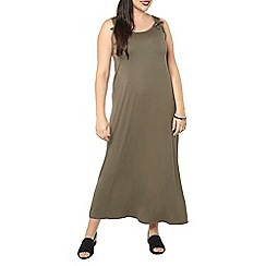 Evans - Green tie shoulder maxi dress