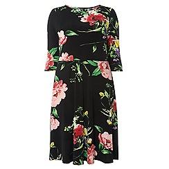 Evans - Black floral skater dress