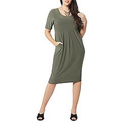 Evans - Green longline pocket shift dress