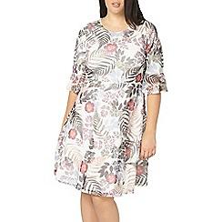 Evans - Ivory tropical mesh dress