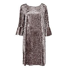 Evans - Lilac velvet frill sleeve shift dress