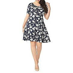Evans - Grey and navy floral fit & flare dress