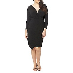 Evans - Hourglass fit black wrap dress