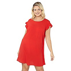 Evans - Red frill sleeve dress