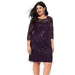 Evans - Purple sparkle lace shift dress