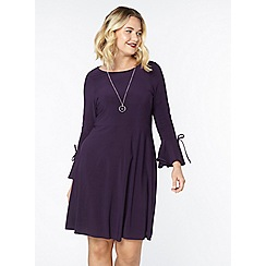 Evans - Purple tie fit and flare dress