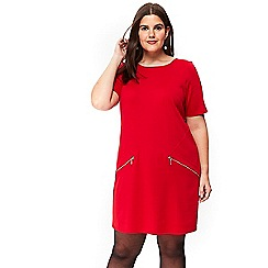 Evans - Red pocket tunic dress