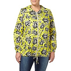 Evans - Lime green floral rain mac