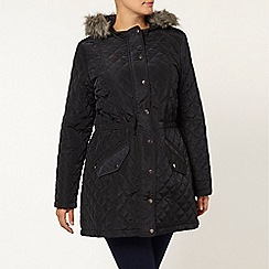 Evans - Navy blue faux fur trim quilted parka
