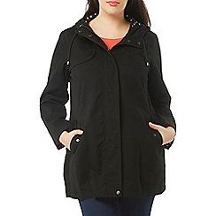 Evans - Black hooded a-line coat