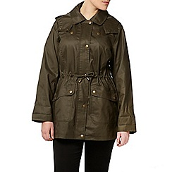 Evans - Khaki floral trim wax coat