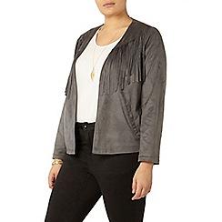 Evans - Grey fringe suedette jacket