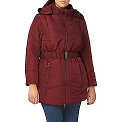 Evans - Red belted padded coat