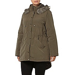 Evans - Khaki cotton fur hood parka