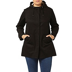 Evans - Black cotton a-line mac