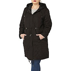 Evans - Evans black quilted longer coat