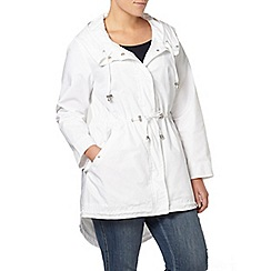 Evans - Ivory hooded parka coat
