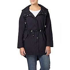 Evans - Navy pear fit hooded parka coat