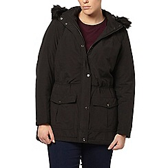 Evans - Black sheen parka coat