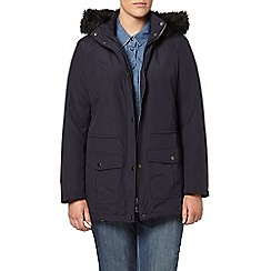 Evans - Navy blue sheen parka coat