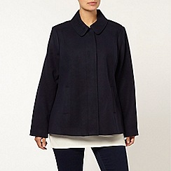 Evans - Navy blue wool touch coat