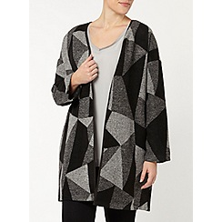 Evans - Grey aztec print throw on coat