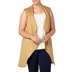 Evans - Neutral belted sleeveless coat